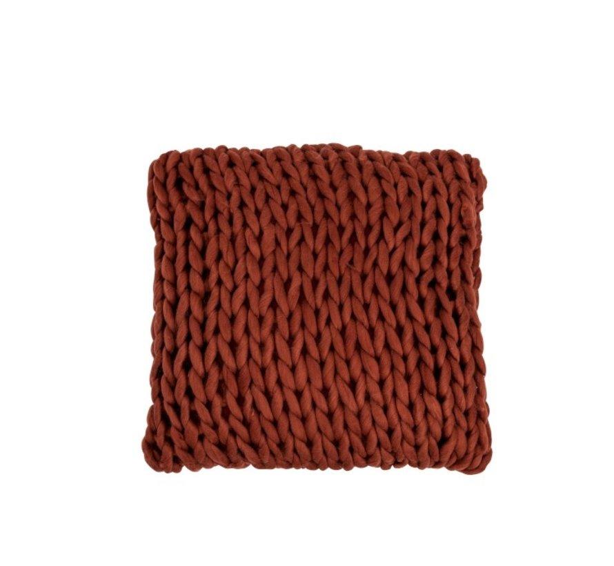 Kussen Vierkant Gebreid Textiel - Rood