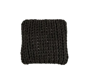 J -Line Cushion Square Knitted Textile - Dark Gray