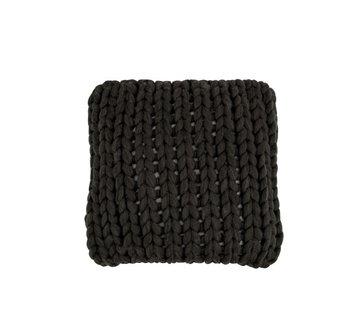 J -Line Kussen Vierkant Gebreid Textiel - Donkergrijs
