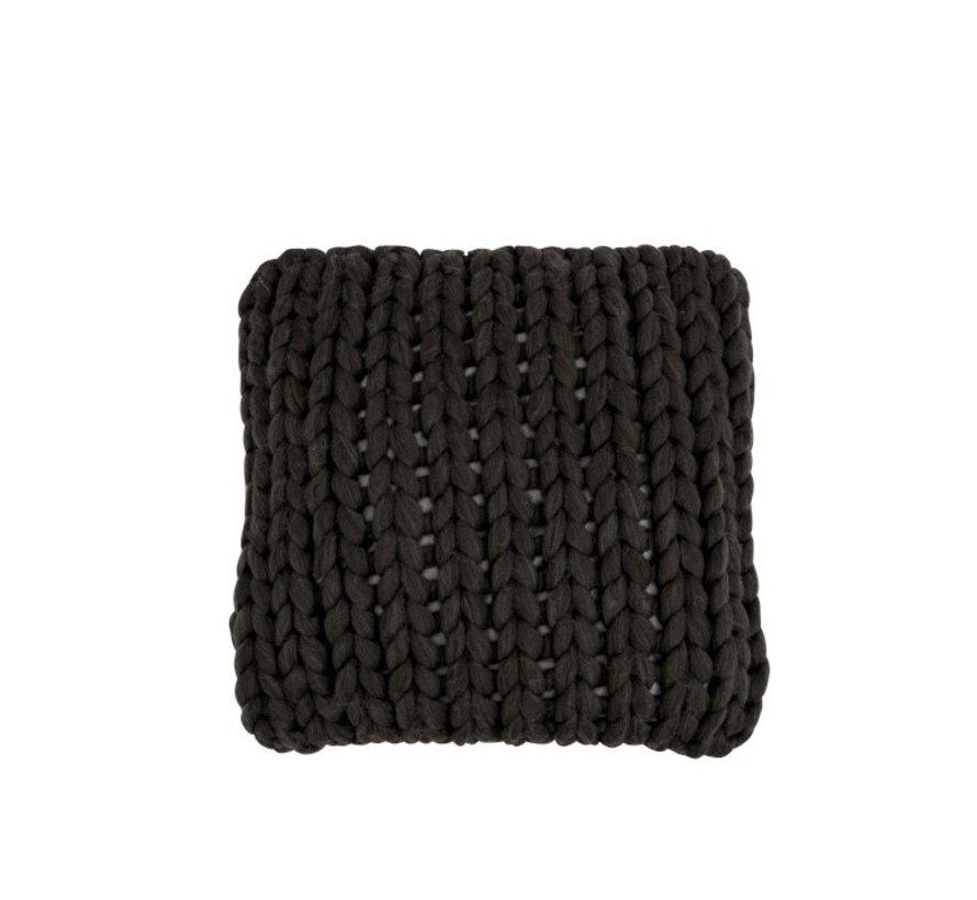 Kussen Vierkant Gebreid Textiel - Donkergrijs