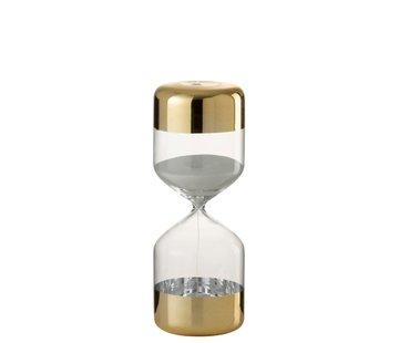 J -Line Zandloper Glas Cilinder Goud Transparant - Large