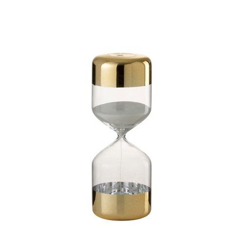 J -Line Hourglass Glass Cylinder Gold Transparent - Large