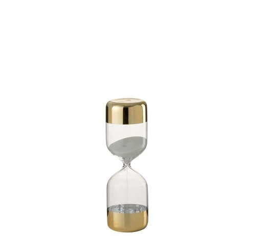 J -Line Zandloper Glas Cilinder Goud Transparant - Small