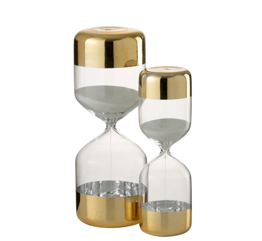 Hourglass Glass Cylinder Gold Transparent - Large
