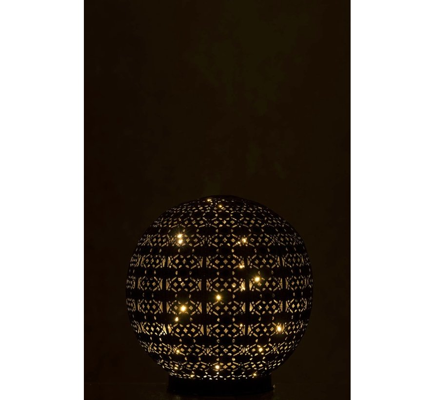 Tafellamp Led Bal Oosters Metaal Zwart Gewassen Wit - Large
