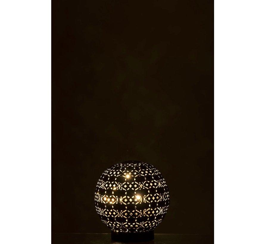 Tafellamp Led Bal Oosters Metaal Zwart Gewassen Wit - Small