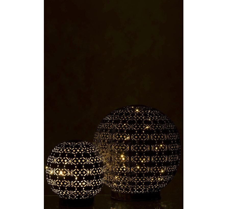 Table lamp Led Ball Oriental Metal Black Washed White - Small