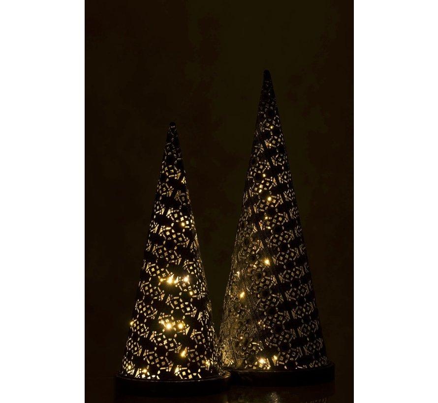 Tafellamp Led Kegel Oosters Metaal Zwart Gewassen Wit - Large