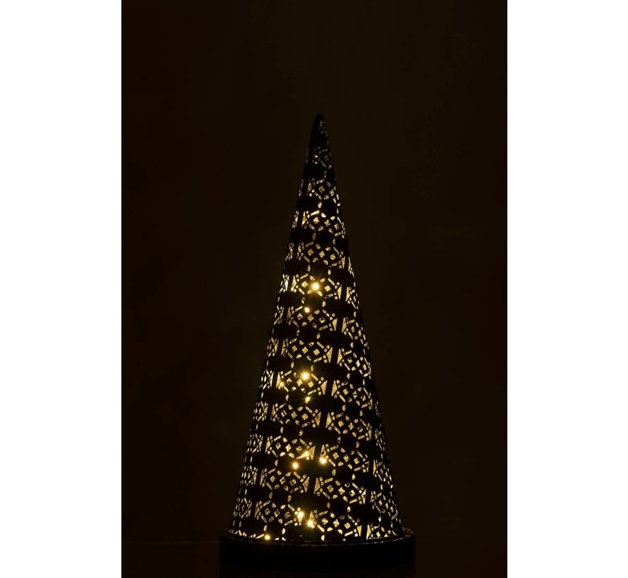 Table lamp Led Cone Oriental Metal Black Washed White - Large