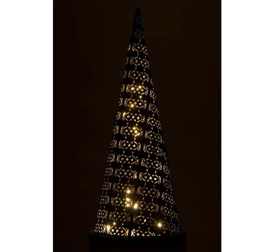 Tafellamp Led Kegel Oosters Metaal Zwart Gewassen Wit - Small