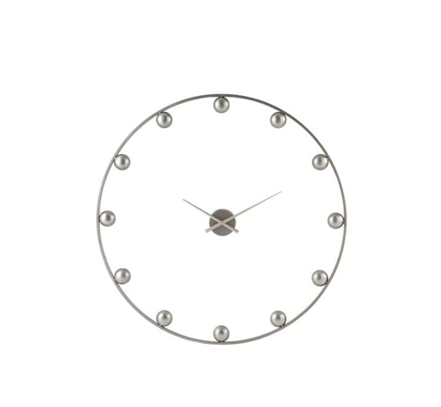 Wall Clock Round Metal Balls Gray - Large