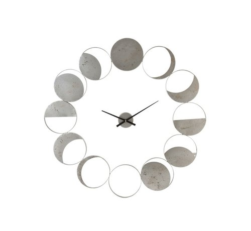 J -Line Wall Clock Round Metal Discs Gray - Large