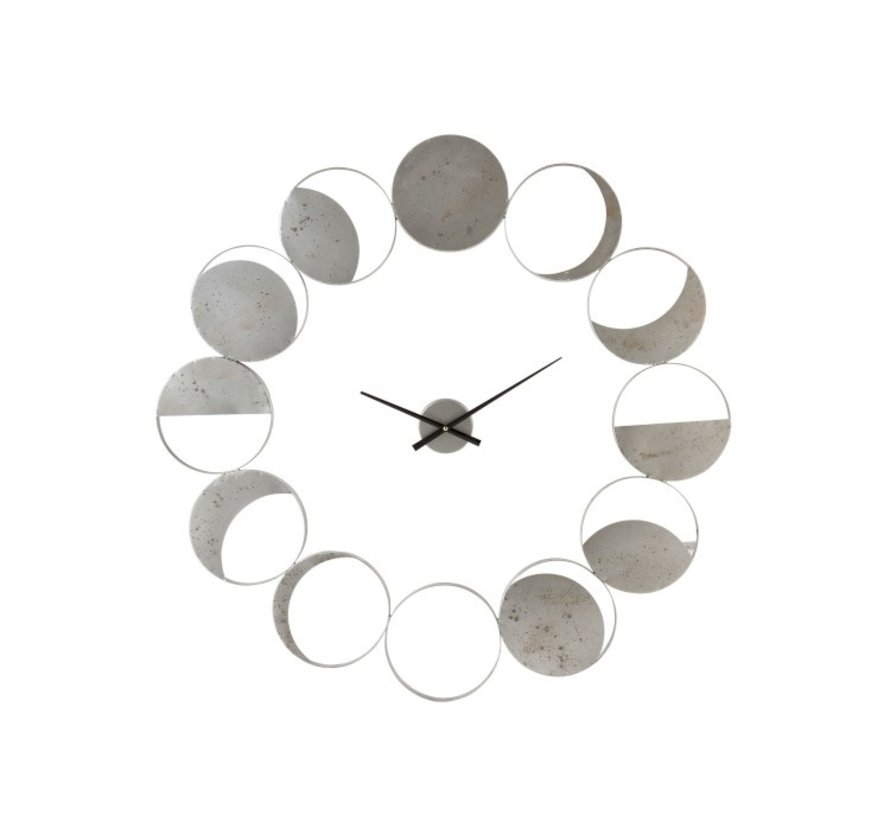 Wall Clock Round Metal Discs Gray - Large