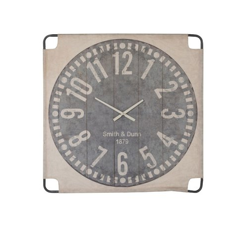 J -Line Wall Clock Square Canvas Textile Beige Gray - Large