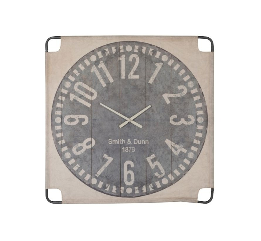 Wall Clock Square Canvas Textile Beige Gray - Large