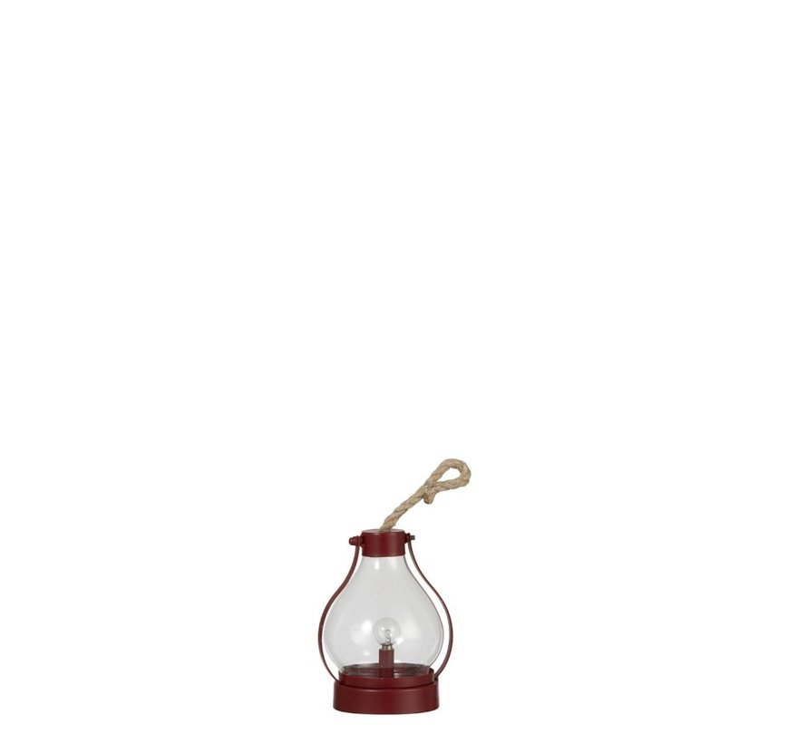 Tafellamp Lantaarn Rond Led Batterij Metaal Glas - Rood
