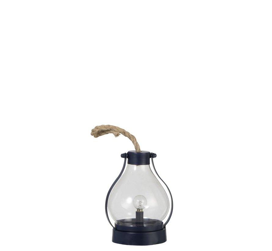 Tafellamp Lantaarn Rond Led Batterij Metaal Glas - Blauw