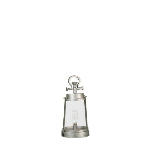 J -Line Tafellamp Lantaarn Led Batterij Metaal Glas Zilvergrijs - large