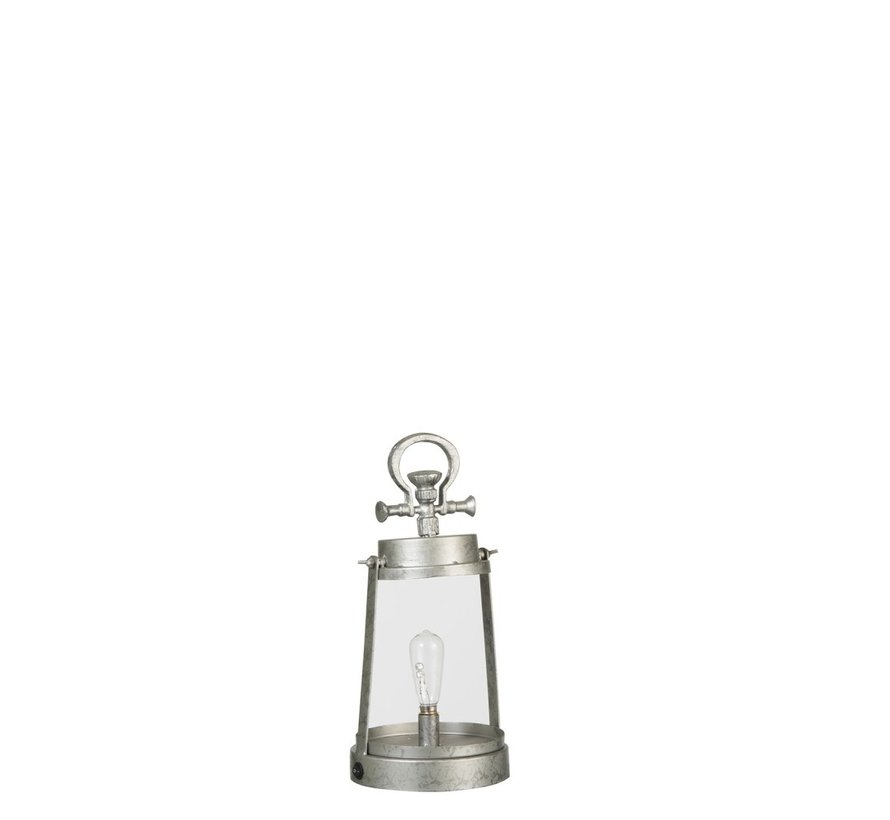 Tafellamp Lantaarn Led Batterij Metaal Glas Zilvergrijs - large