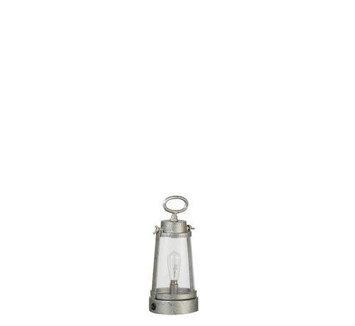J -Line Tafellamp Lantaarn Led Batterij Metaal Glas Zilvergrijs - Small
