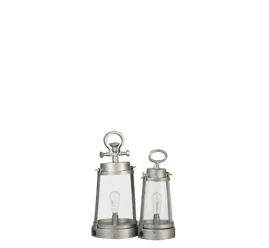 Tafellamp Lantaarn Led Batterij Metaal Glas Zilvergrijs - Small