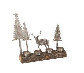 J -Line Theelichthouder Kerst Metaal Hout Grijs Naturel - Grijs