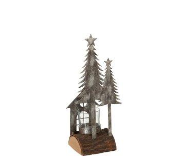 J -Line Tealight holder Christmas Metal Wood Gray Natural - Gray