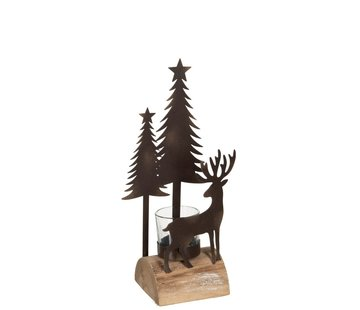 J -Line Tealight holder Christmas Metal Wood  Natural - Brown