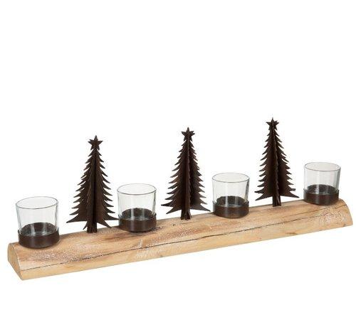 J -Line Theelichthouder Kerst Metaal Hout Naturel - Bruin