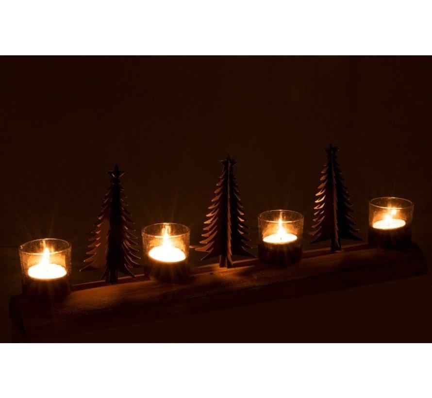 Theelichthouder Kerst Metaal Hout Naturel - Bruin