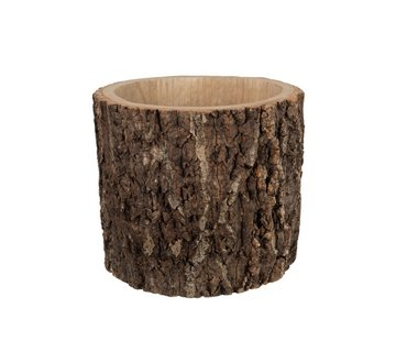 J -Line Flowerpot Round Bark Dark Brown - Large