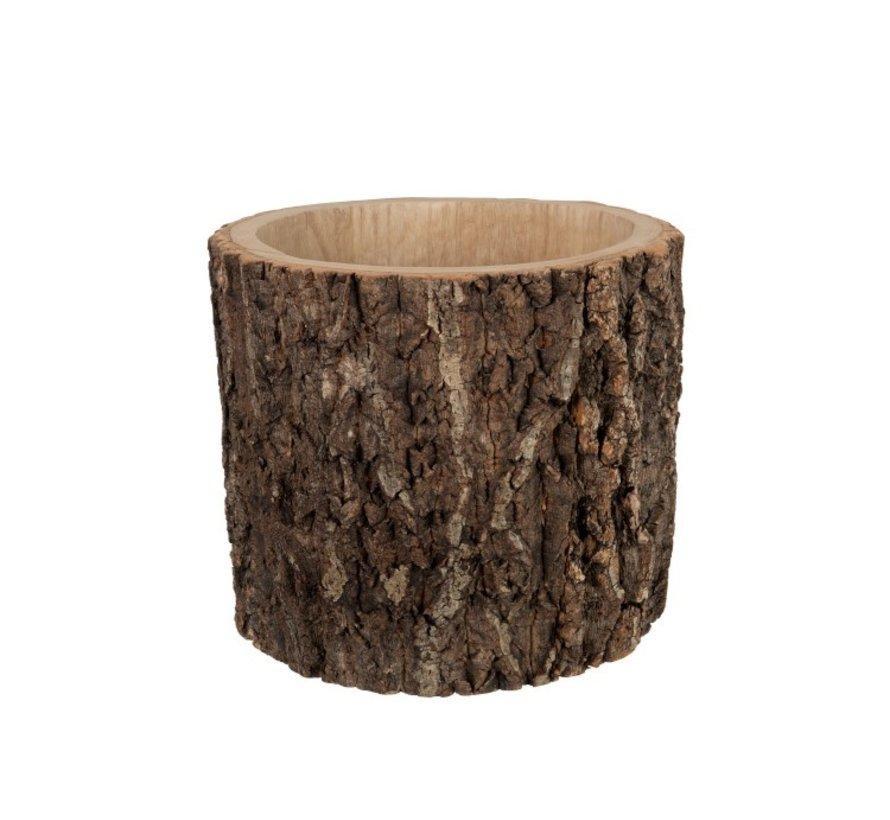 Flowerpot Round Bark Dark Brown - Large