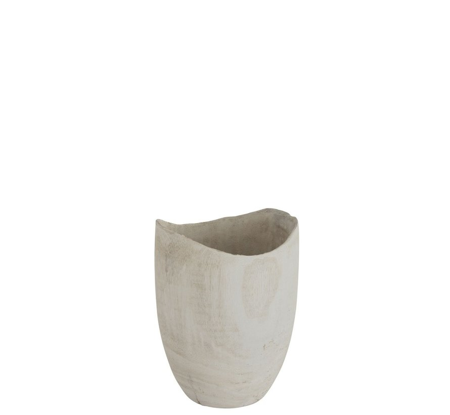 Flowerpot Round Fluctus Wood White - Small