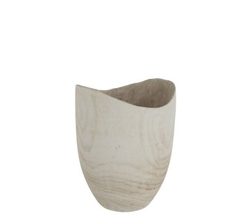 J -Line Flowerpot Round Fluctus Wood White - Large