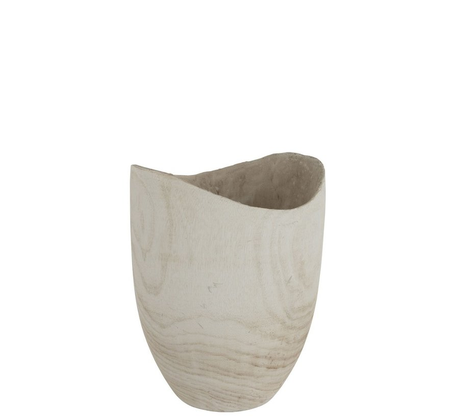 Flowerpot Round Fluctus Wood White - Large