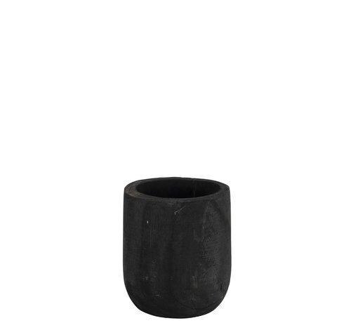 J -Line Flowerpot Round Paulownia Black - Small