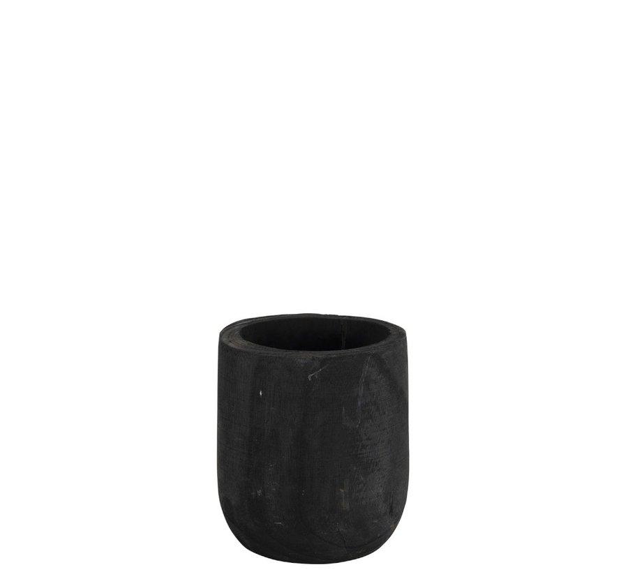 Flowerpot Round Paulownia Black - Small