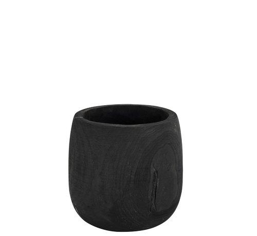 J -Line Flowerpot Round Paulownia Black - Large