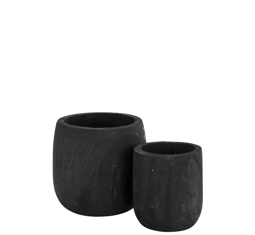 Flowerpot Round Paulownia Black - Large