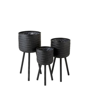 J -Line Flowerpots On Legs Rattan Bamboo - Black