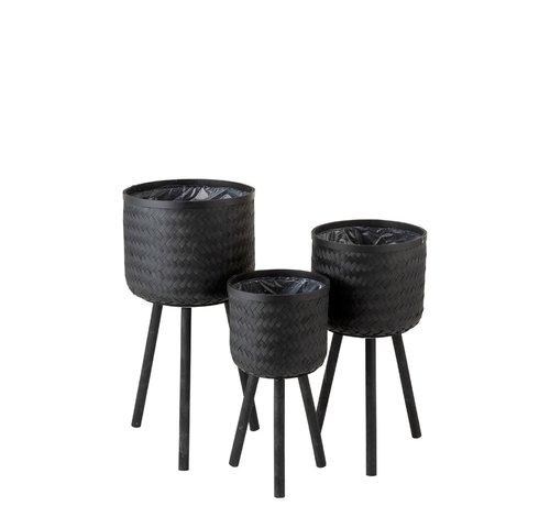 J -Line Bloempotten Op Poten Rotan Bamboo - Zwart