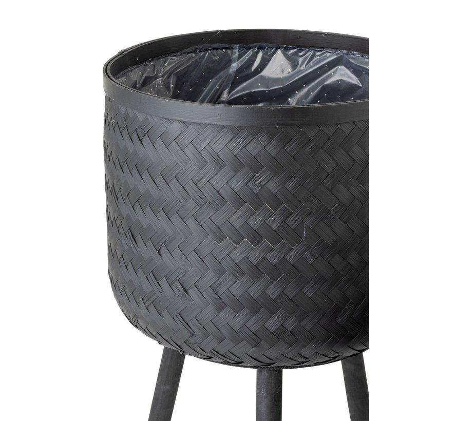 Bloempotten Op Poten Rotan Bamboo - Zwart