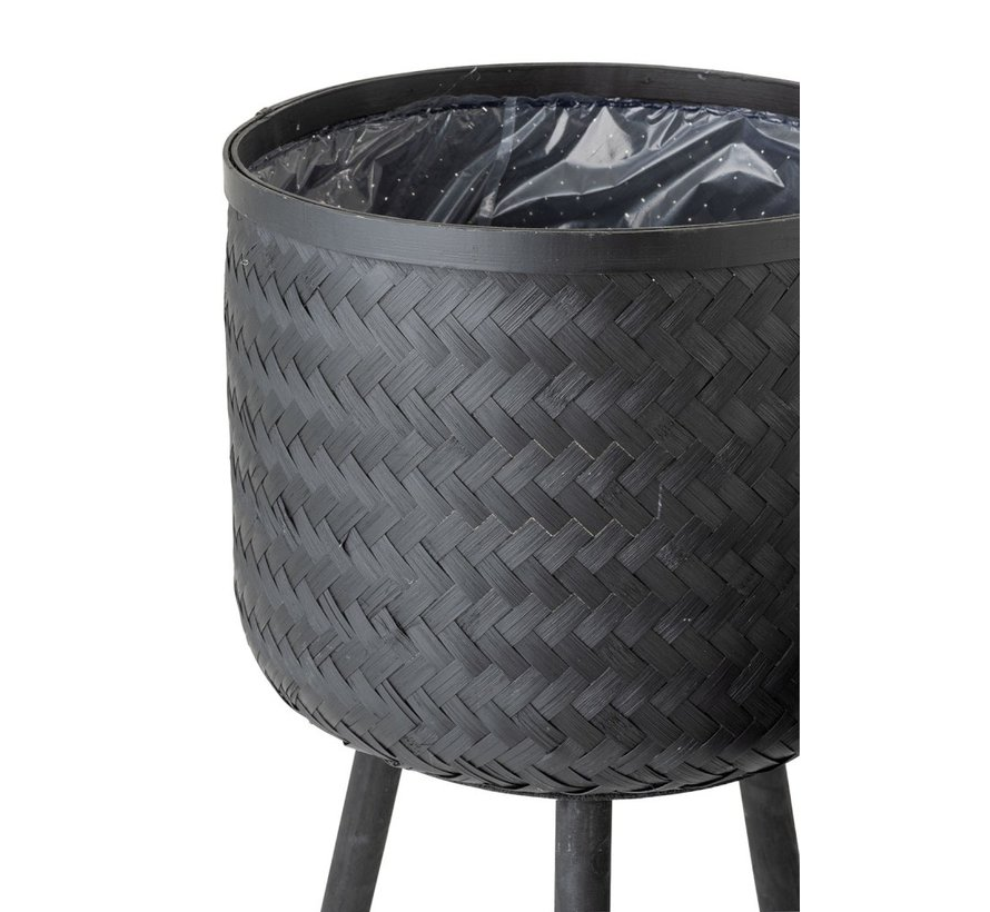 Flowerpots On Legs Rattan Bamboo - Black