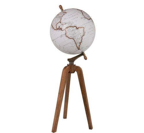 J -Line Globe On Foot Wood White Natural - X large