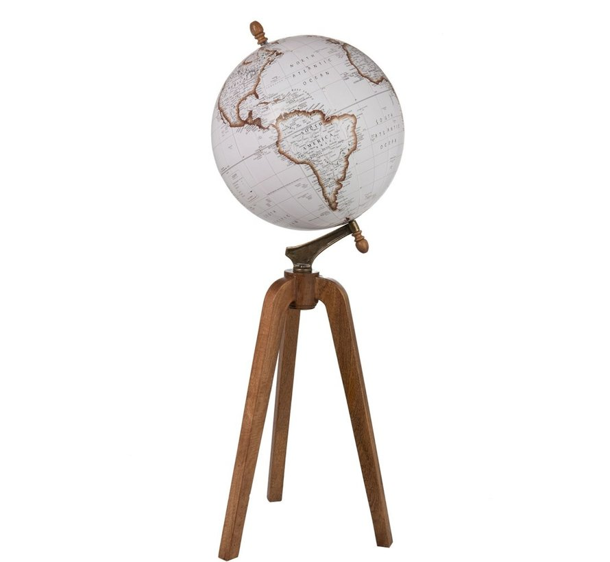 Globe On Foot Wood White Natural - X large