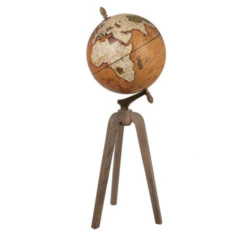 J-Line Globe On Foot Wood Rust Natural - X Large
