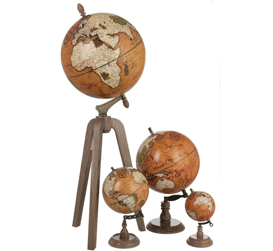 Globe On Foot Wood Rust Natural - X Large