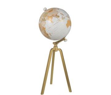 J -Line Wereldbol Op Voet Marmer Wit Metaal Goud - X Large