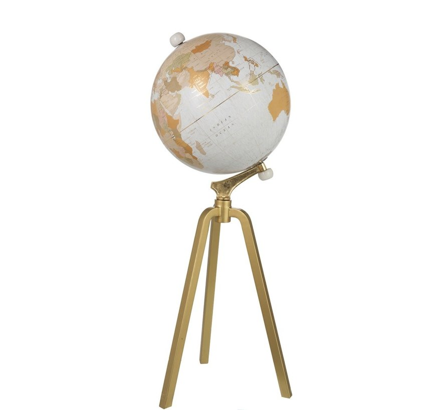 Globe On Foot Marble White Metal Gold Extra - X Large
