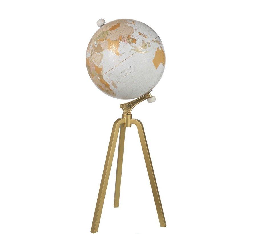 Wereldbol Op Voet Marmer Wit Metaal Goud Extra -  X Large